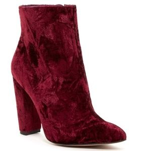 BNIB Jessica Simpson || Red Teddi Velvet Booties